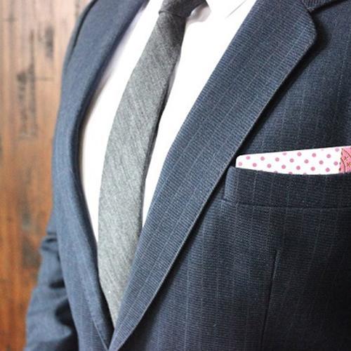 Wooden Pocket Square   Pink Dots