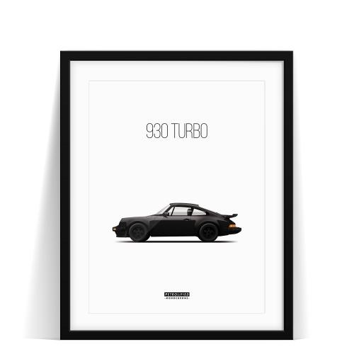 car prints, Porsche 930 Turbo - Monochrome, luxury car art