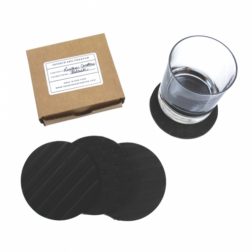Leather Coaster Set, Black