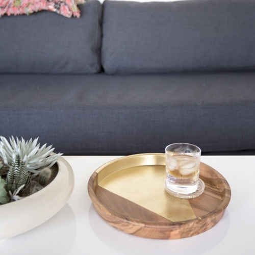 Gold Arrow Teak Tray, Rose & Fitzgerald