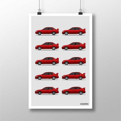 Mitsubishi Lancer Evolution Generations Print