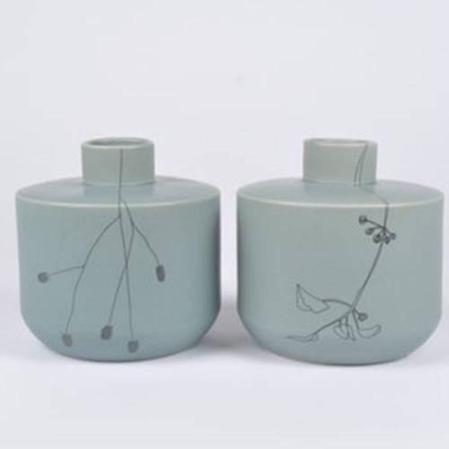Flor Potvase, Set of 2 - Floral Ceramic Pot by Dutch Ceramicist Elke van den Berg