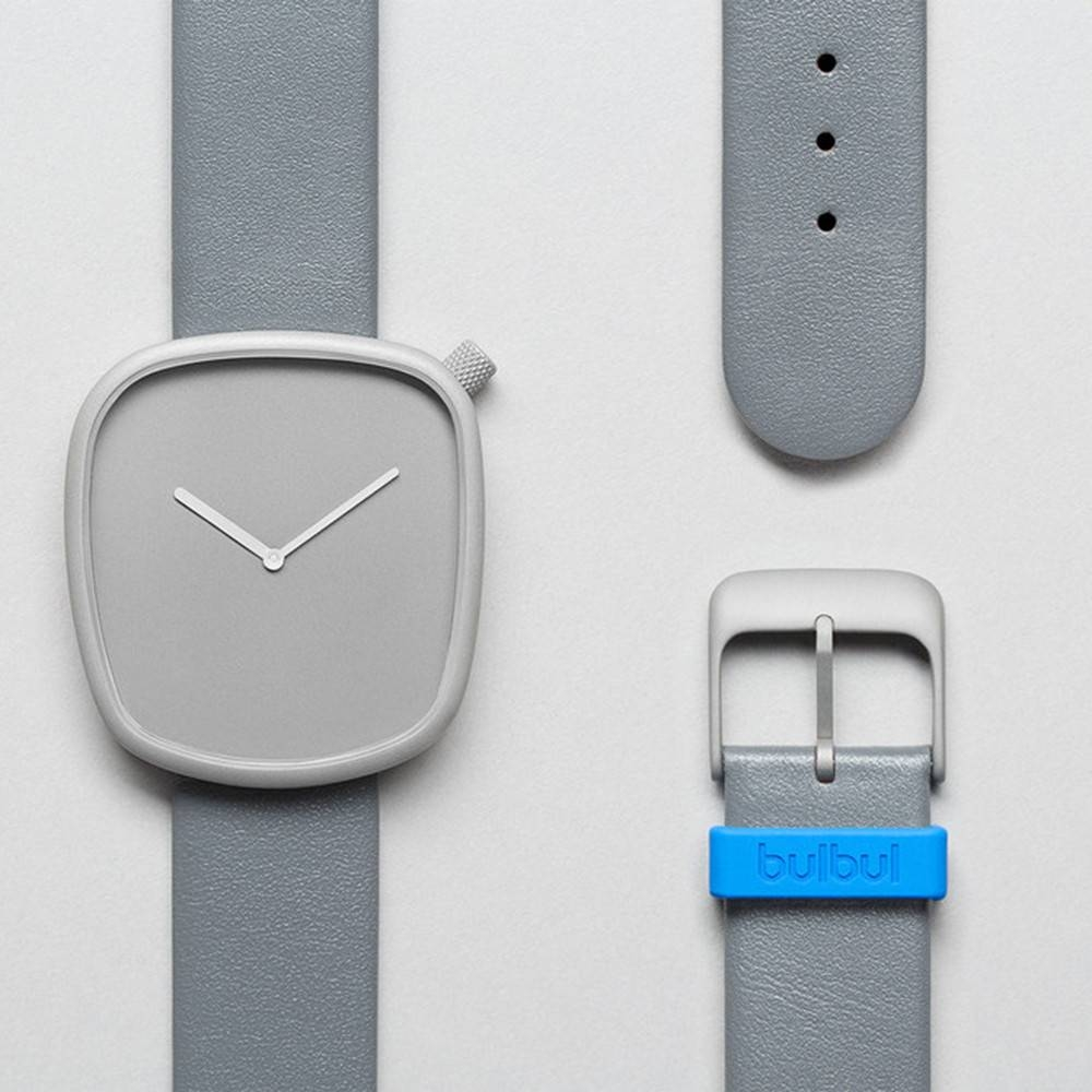 Pebble 04 - Steel Grey Leather Strap Watch