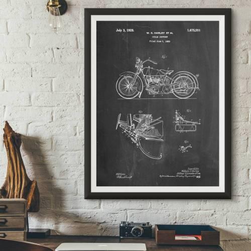 Harley Motorcycle Patent Print - Patent Prints