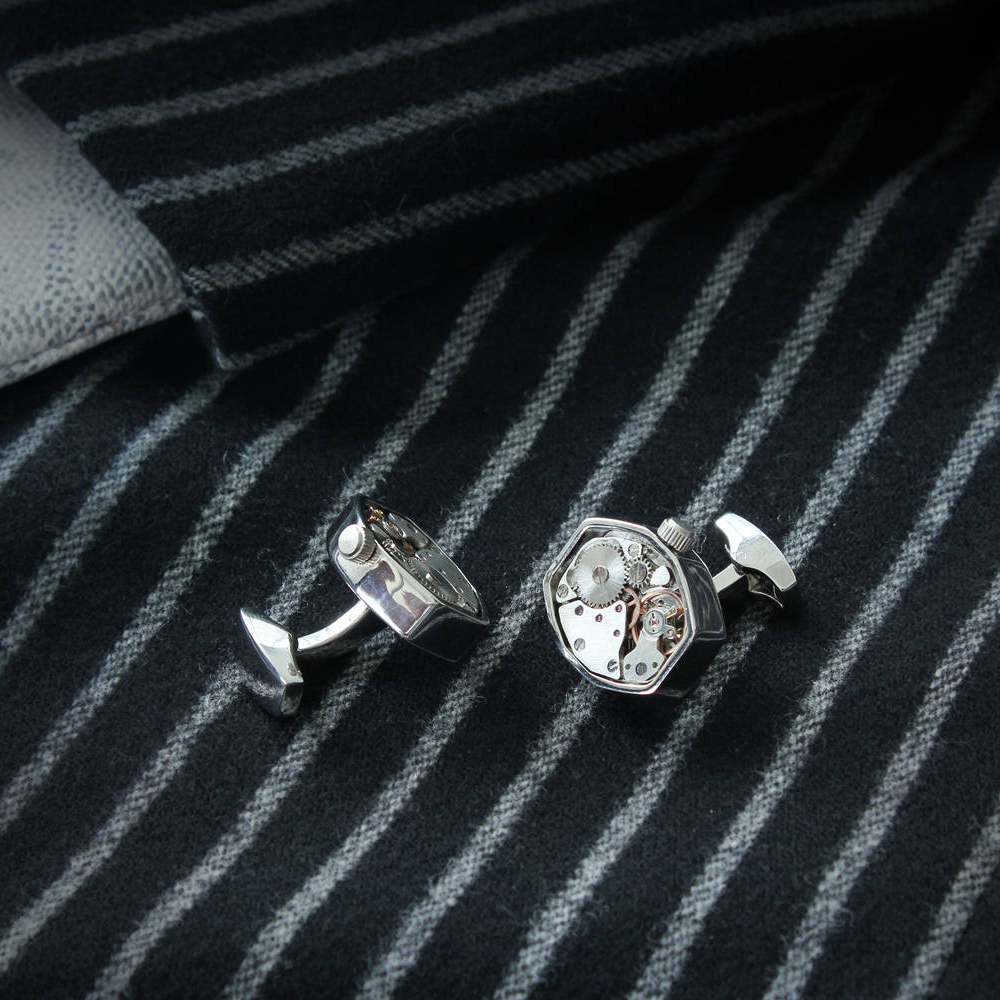 Hexflush - Steel Cufflinks made from Watch Movements