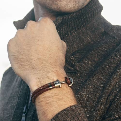 PHREP Leather Bracelet, Brown - Paul Hewitt