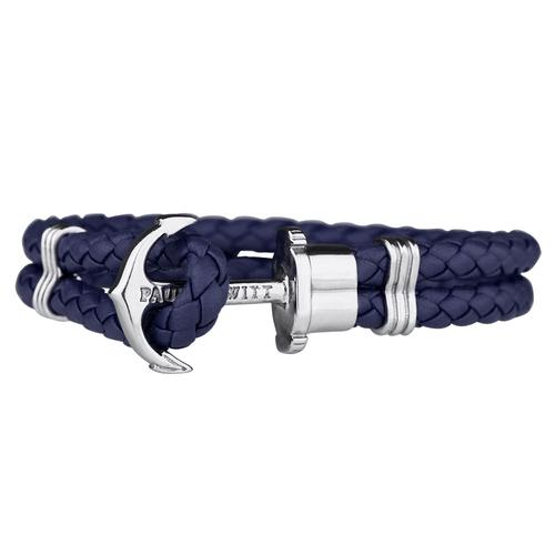 PHREP Leather Bracelet, Navy/Silver
