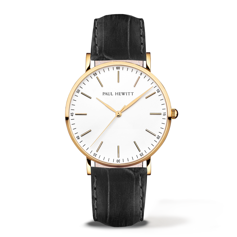 Gold Line Leather Watch, Black - Paul Hewitt