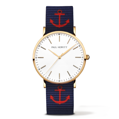 Gold Line Anchor Watch, Navy/Red