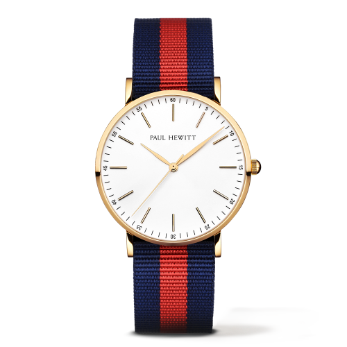 Gold Line Watch, Navy/Red