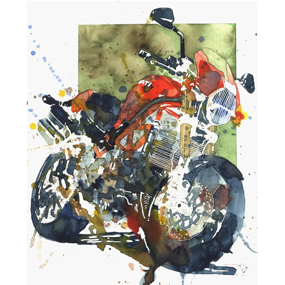 Ducati Monster S4R Watercolor Print | By Artist Bilbeisi