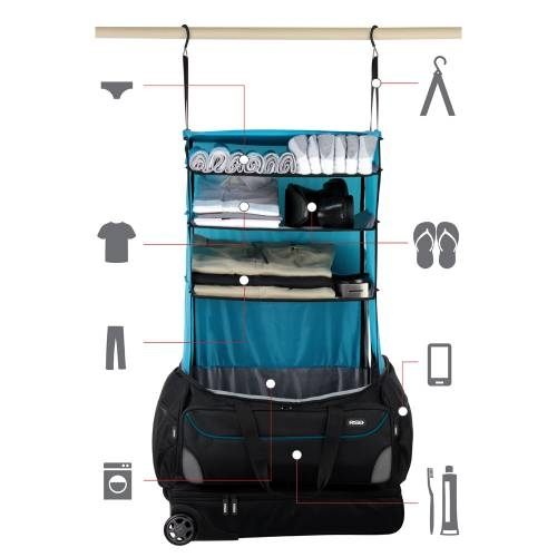 Roller Duffle Bag with Collapsible Shelves | BLUE