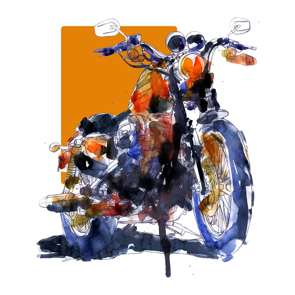 Harley-Davidson Sportster Watercolor Print | By Bilbeisi
