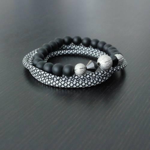Vallour Bracelet Black and Silver Diamond Set