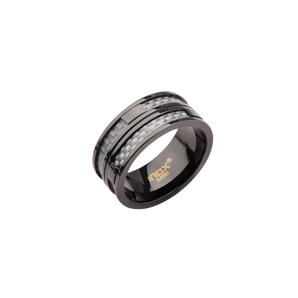 Carbon Fiber Diamontrigue Jewelry: Black IP In Two Line Grey Carbon Fiber Ring