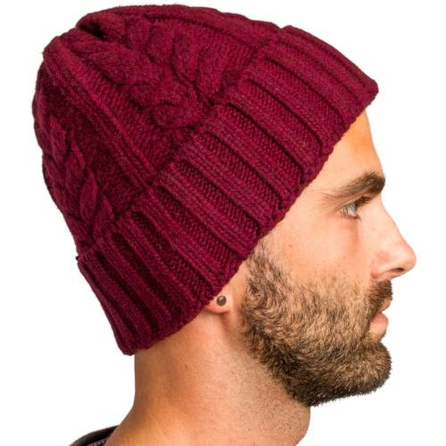 Cable Knitted Beanie | Burgundy