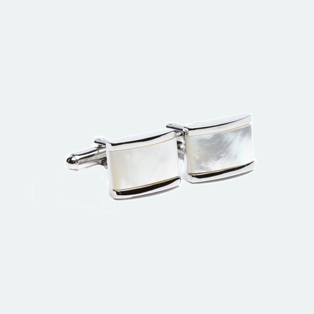 FlipMyTie Men's White Square Cufflink