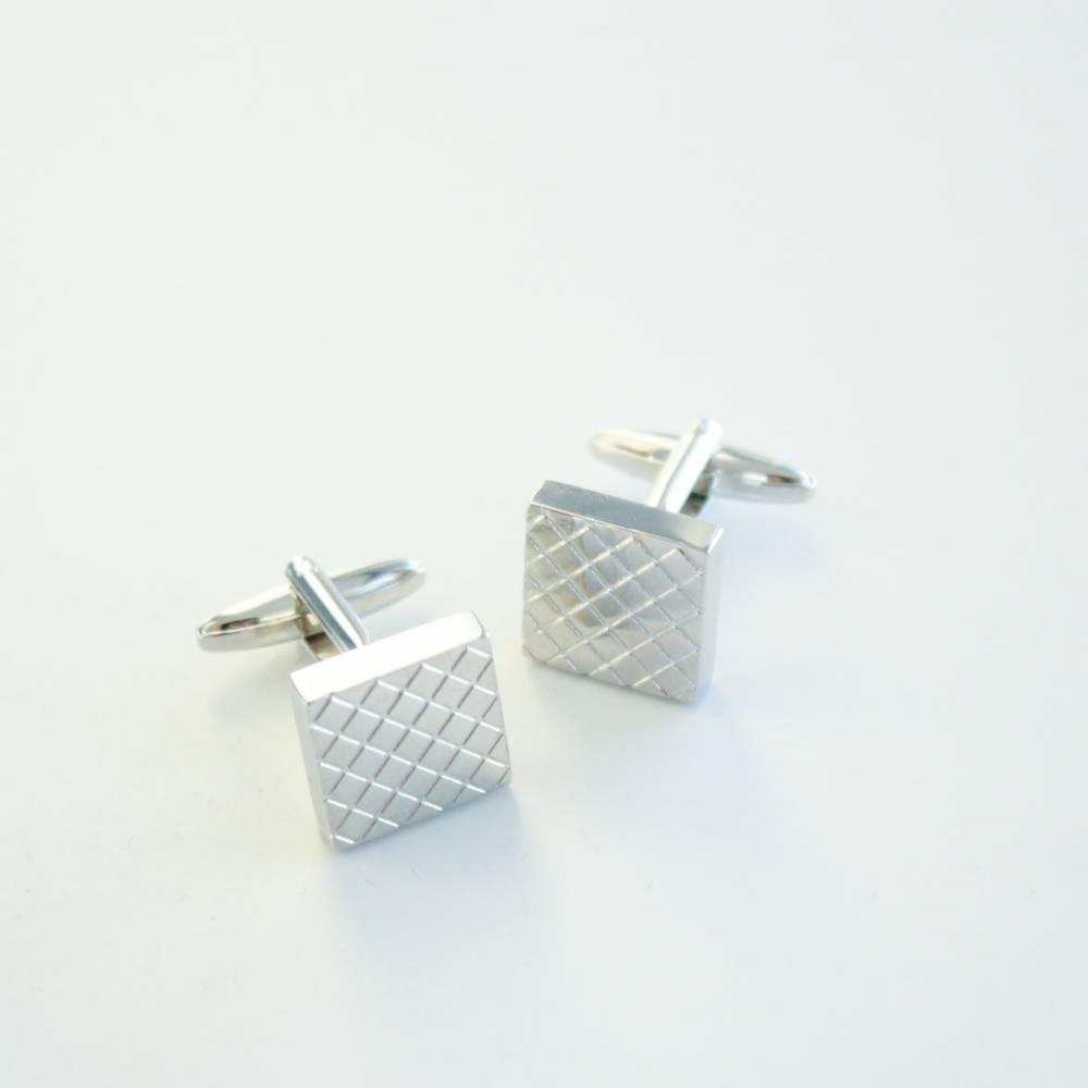 FlipMyTie Silver Checkered Cufflink