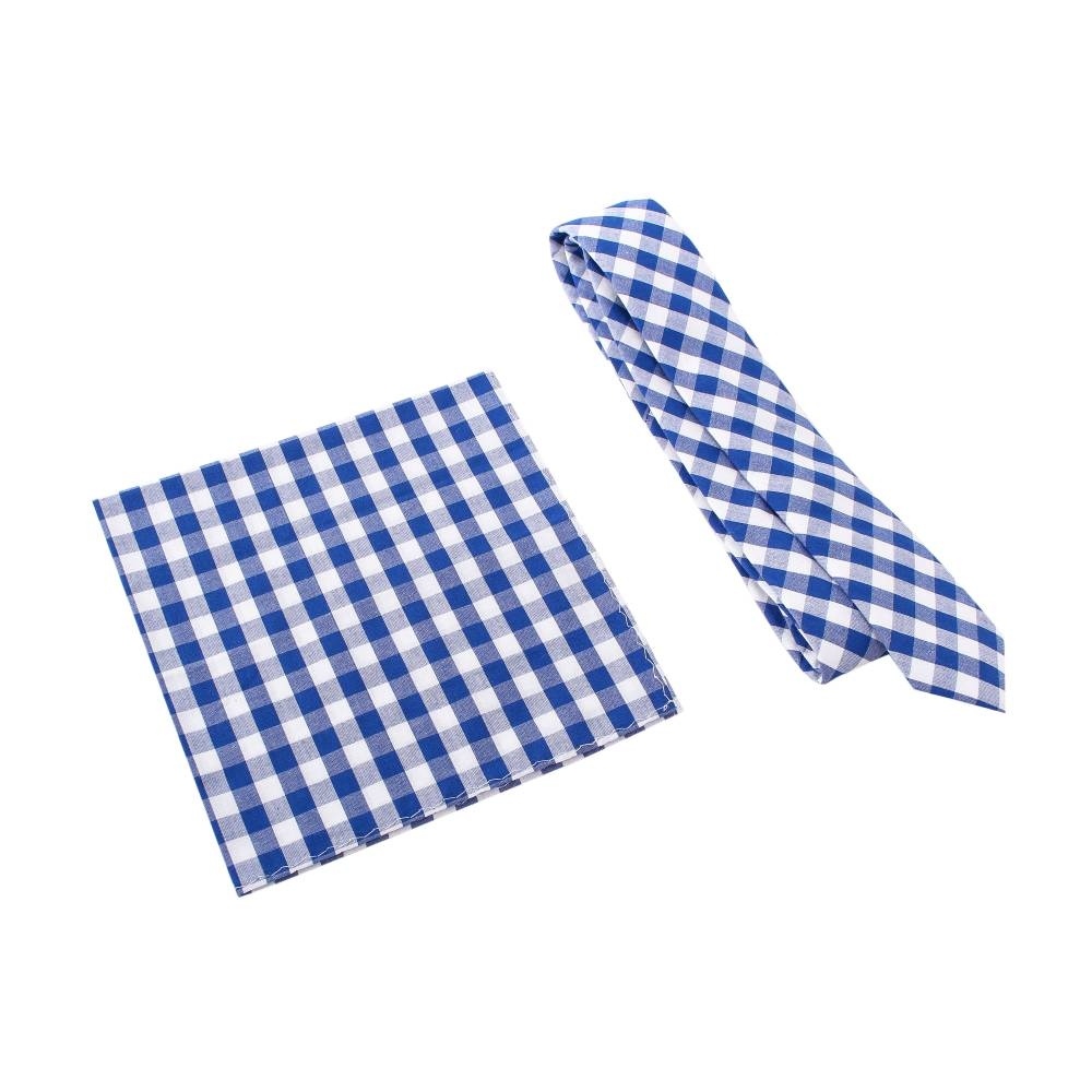Blue Gingham Plaid Tie with Pocket Square
