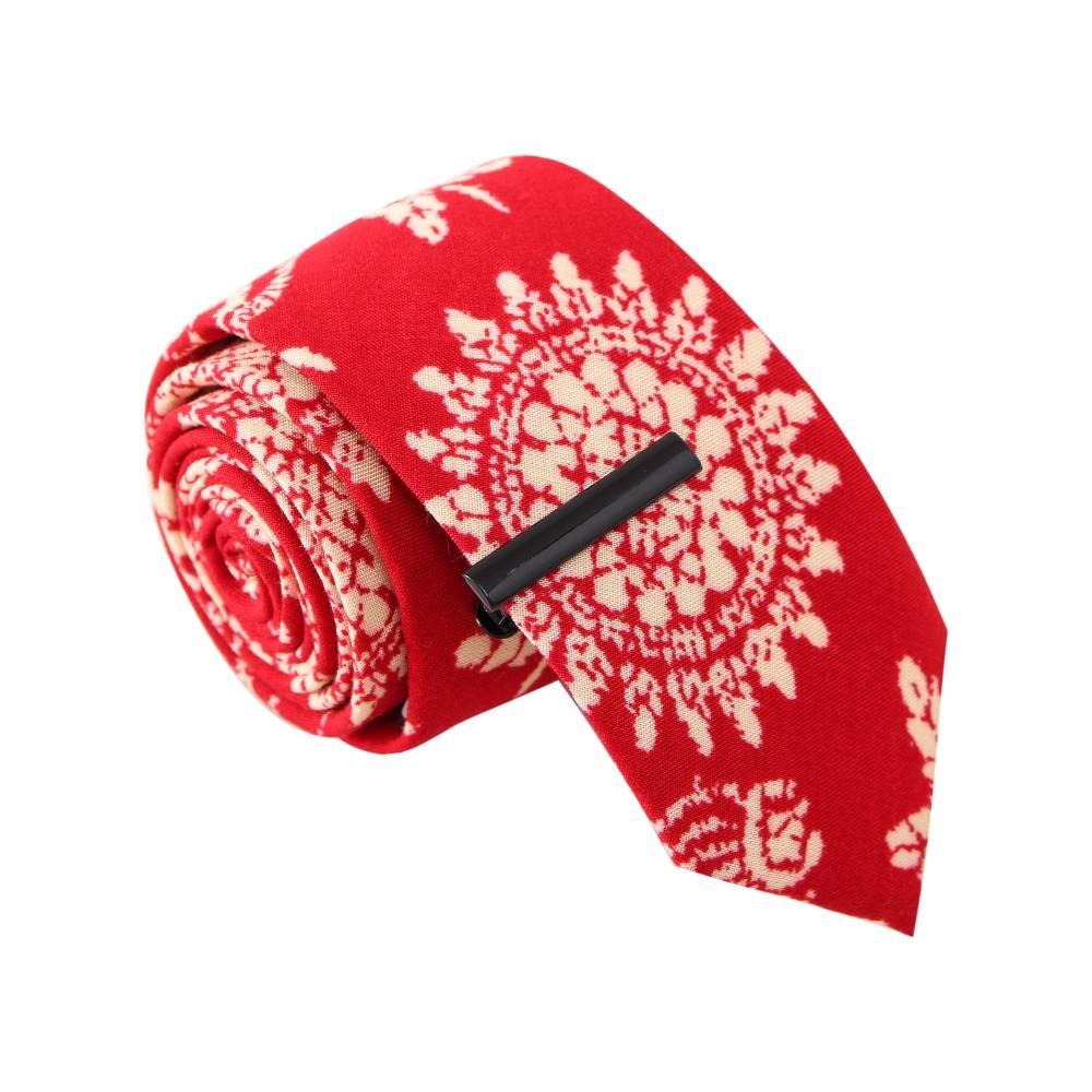 'Bandana Bandit' Red Tie with Tie Clip