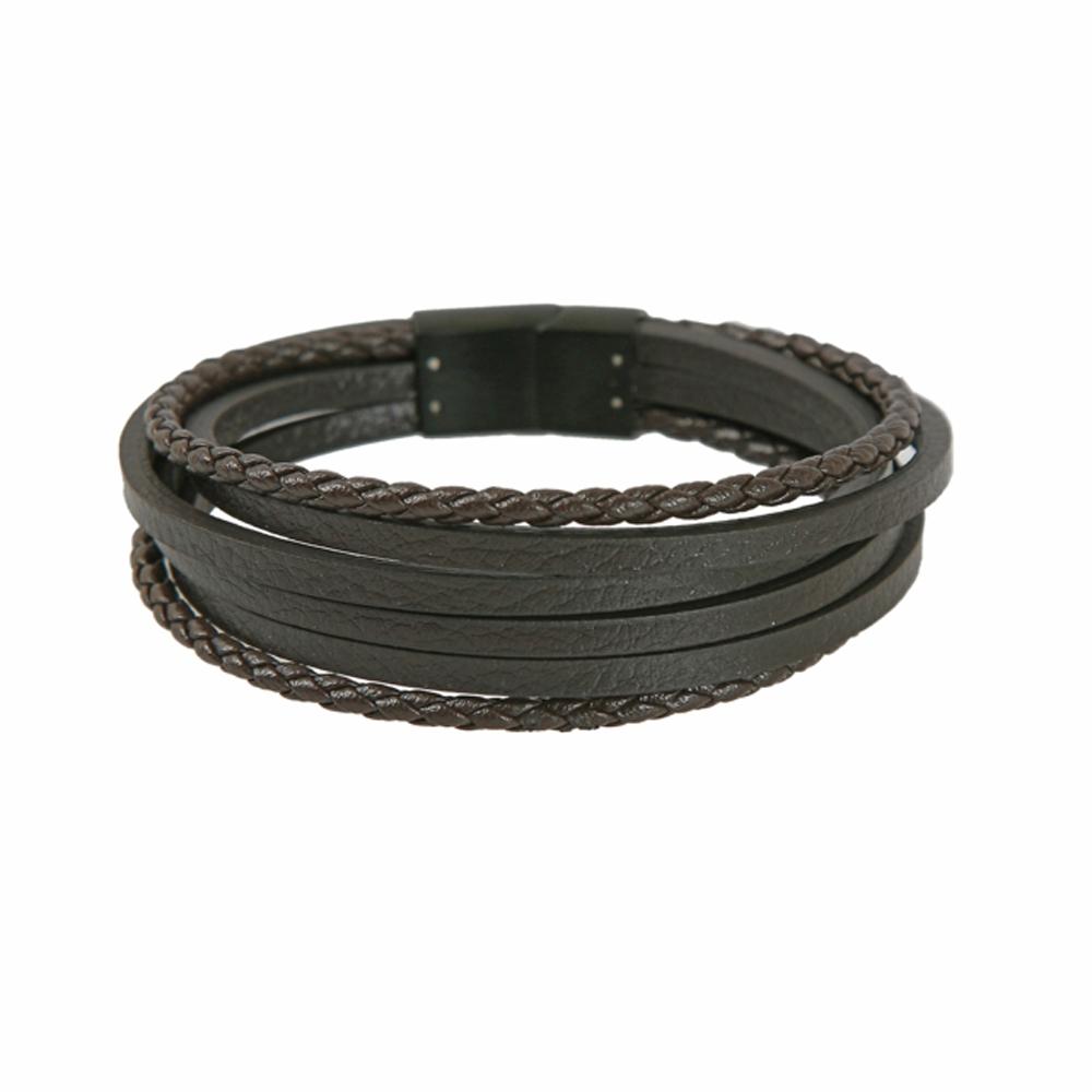 Dark Brown Leather Multi Cord Bracelet - Buttigo