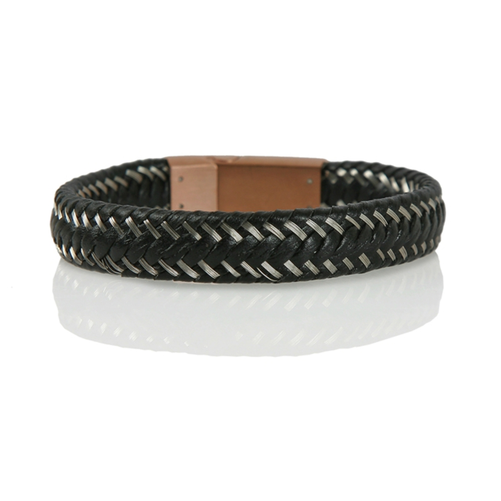 Silver and Black Braided Leather Cord Bracelet - Buttigo