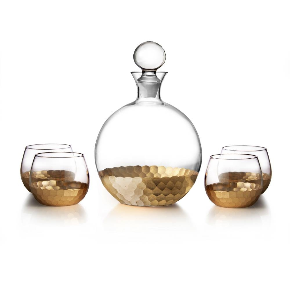 Daphne Gold 5 Piece Decanter Set | Jay Companies
