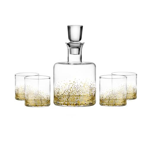 Gold Luster Whiskey Decanter | Set of 5