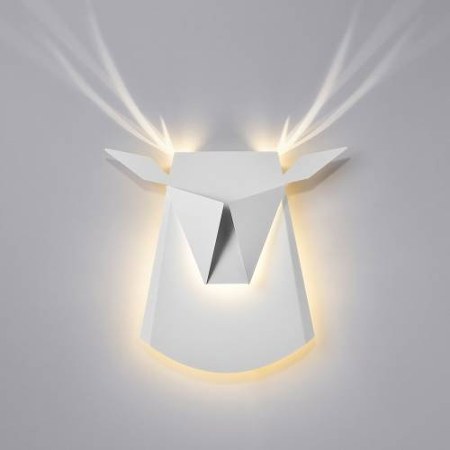 Aluminum Deer Head LED Light Fixture   Electricity Hardwire