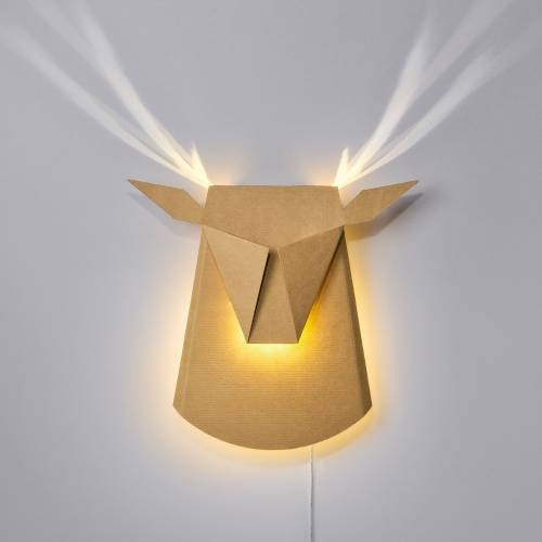 Cardboard Deer Head LED | Plug