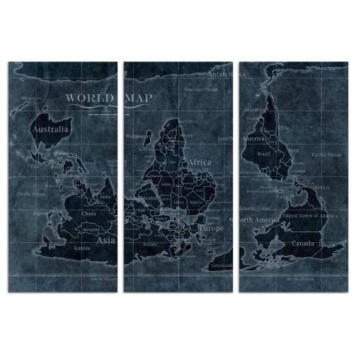 Upside-down Map of the World Noir Triptych | Canvas Art