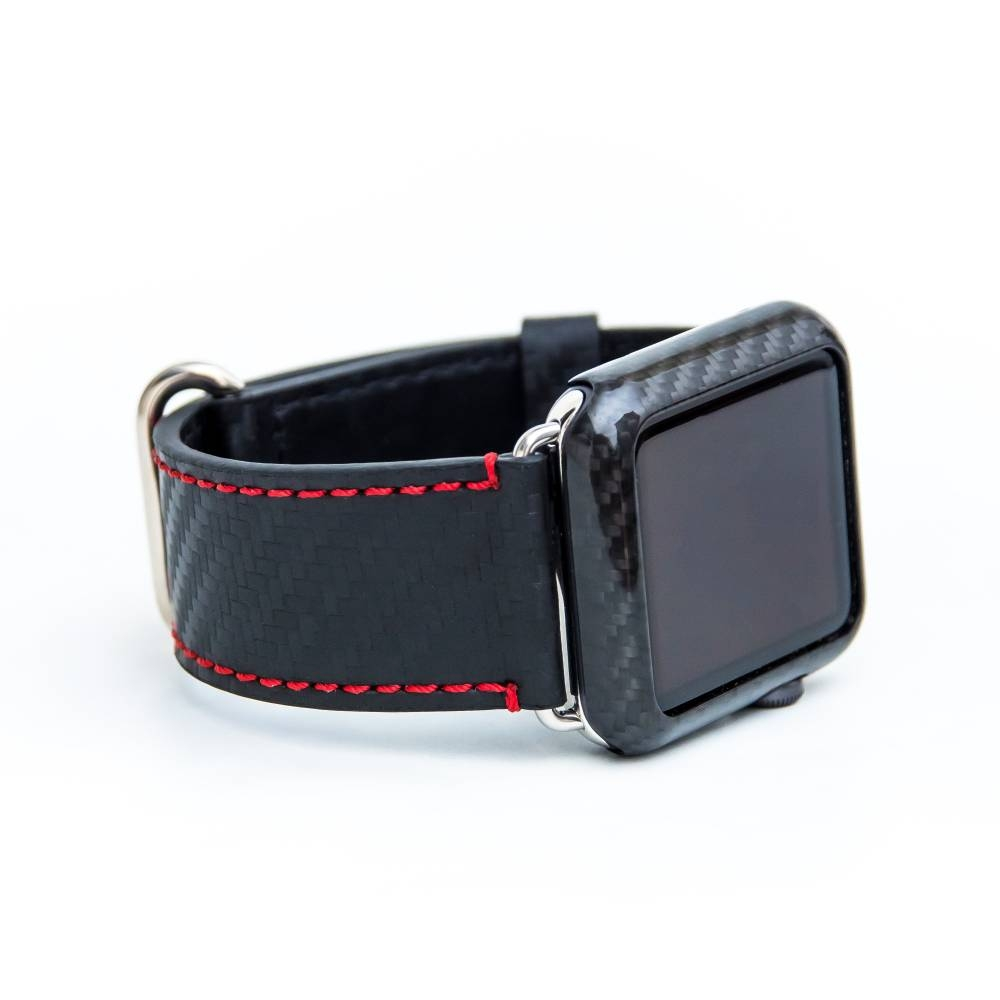 Apple Watch Strap | Black Leather | Trifecta