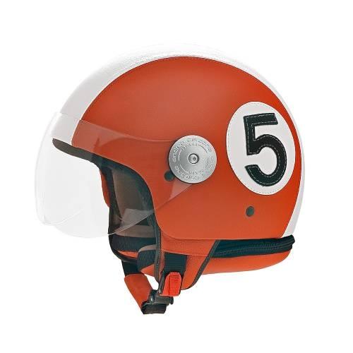 Orange Leather Helmet  