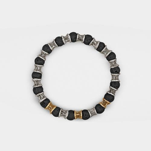 Silver Bracelet | 3 Gold Links | Lava Beads