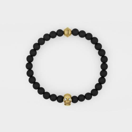 Onyx Bracelet   18ct Gold Skull   Diamonds