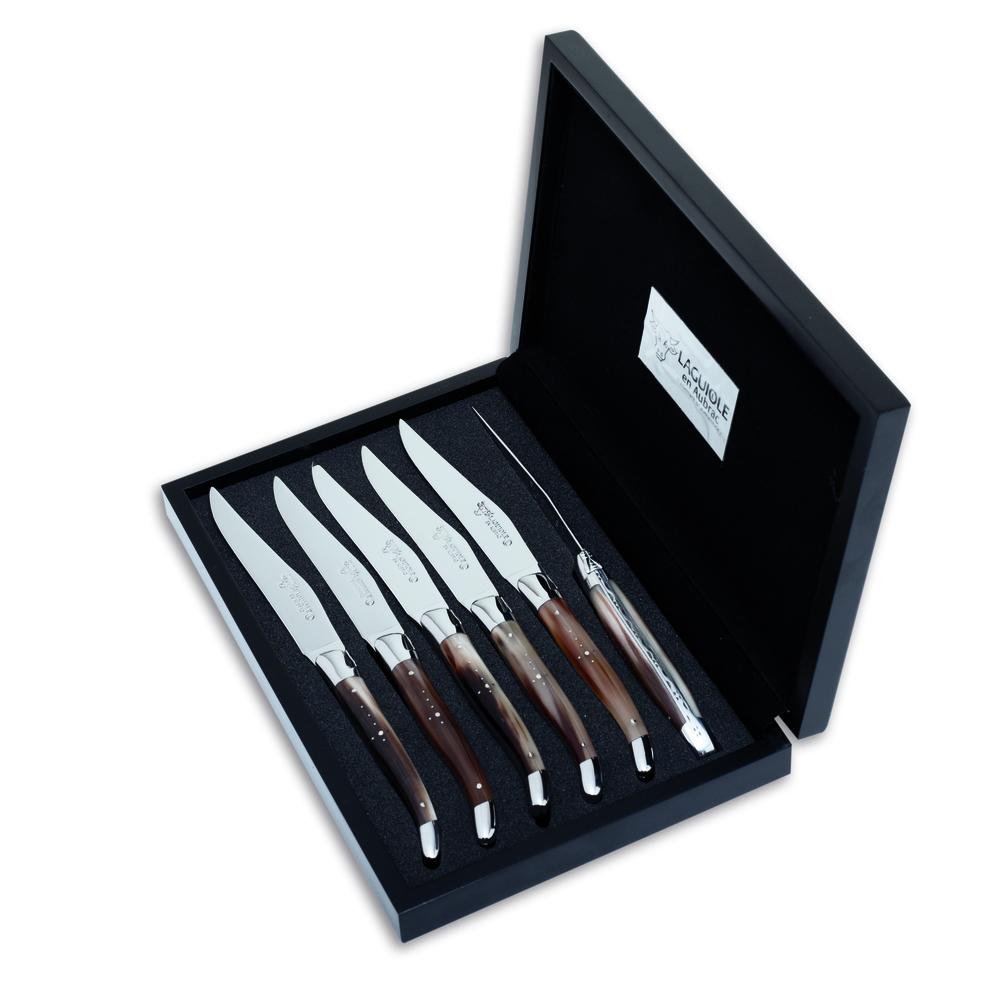 Steak Knife Set African Zebu Horn Laguiole En Aubrac