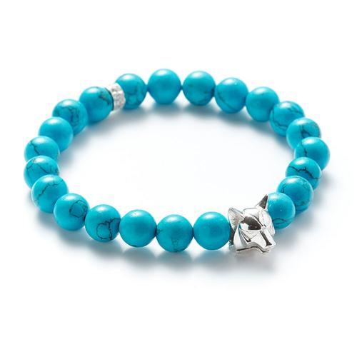 Howlite | Silver Wolf Bracelet