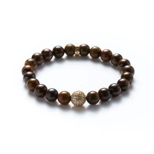 Tiger's Eye | Gold Ball Bracelet
