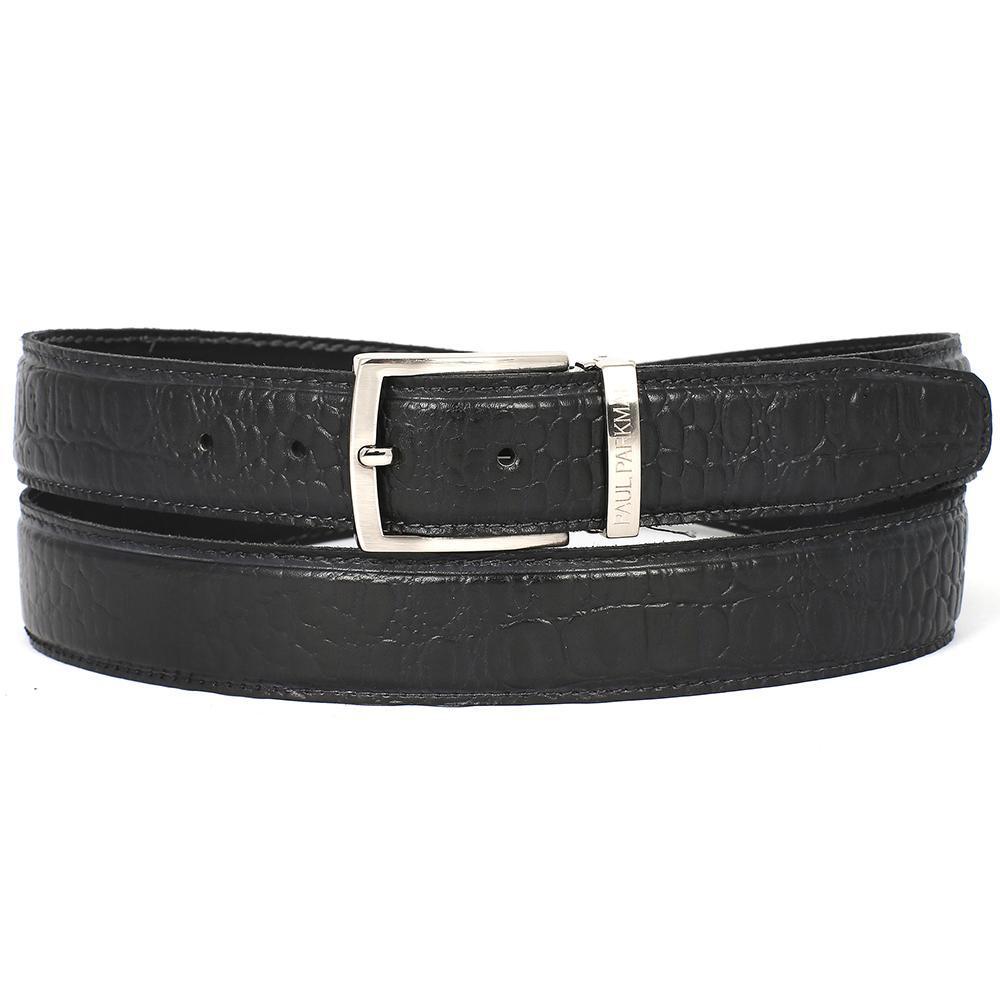 Men's Crocodile Embossed Calfskin Leather Belt   Black