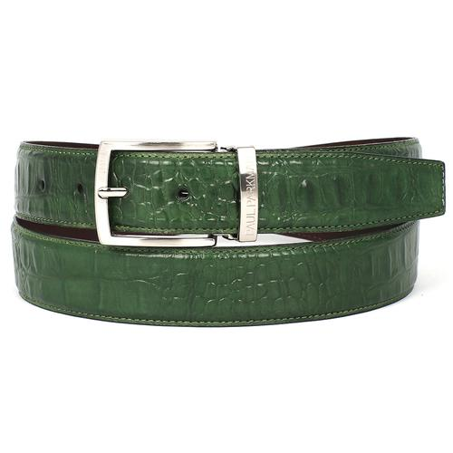 Men's Crocodile Embossed Calfskin Leather Belt | Green