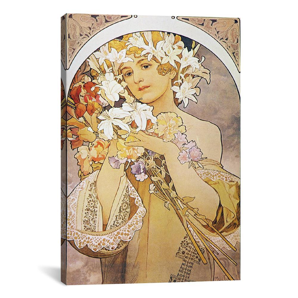 Flowers, 1897 by Alphonse Mucha Canvas Print