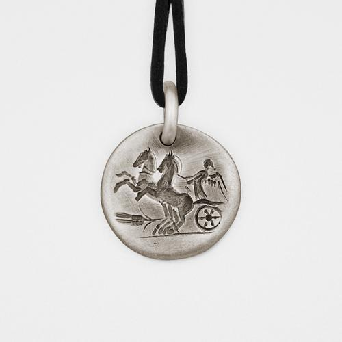 Chariot Pendant   Silver & Leather