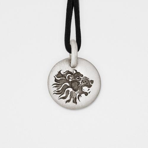 Lion Charm Pendant | Silver & Leather