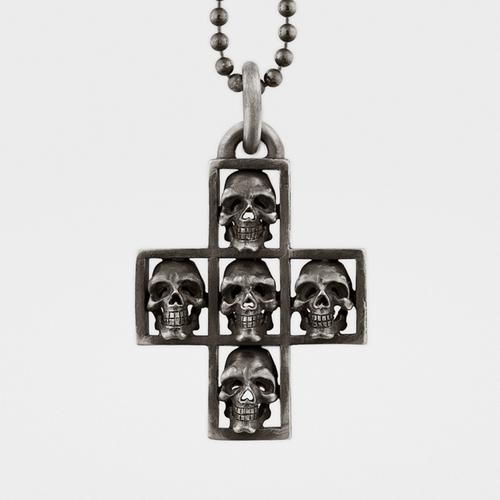 Skull Cross Pendant   Sterling Silver