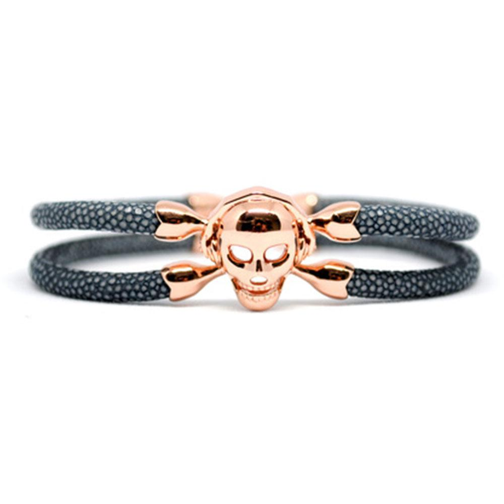 Skull Bracelet | Gray with Rose Gold Skull | Double Bone