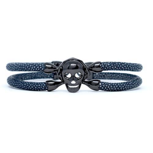 Bracelet   Single Skull   Gray/Black
