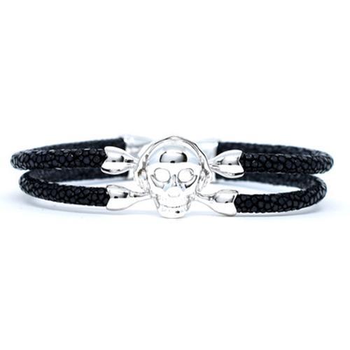 Bracelet | Single Skull | Black/Silver