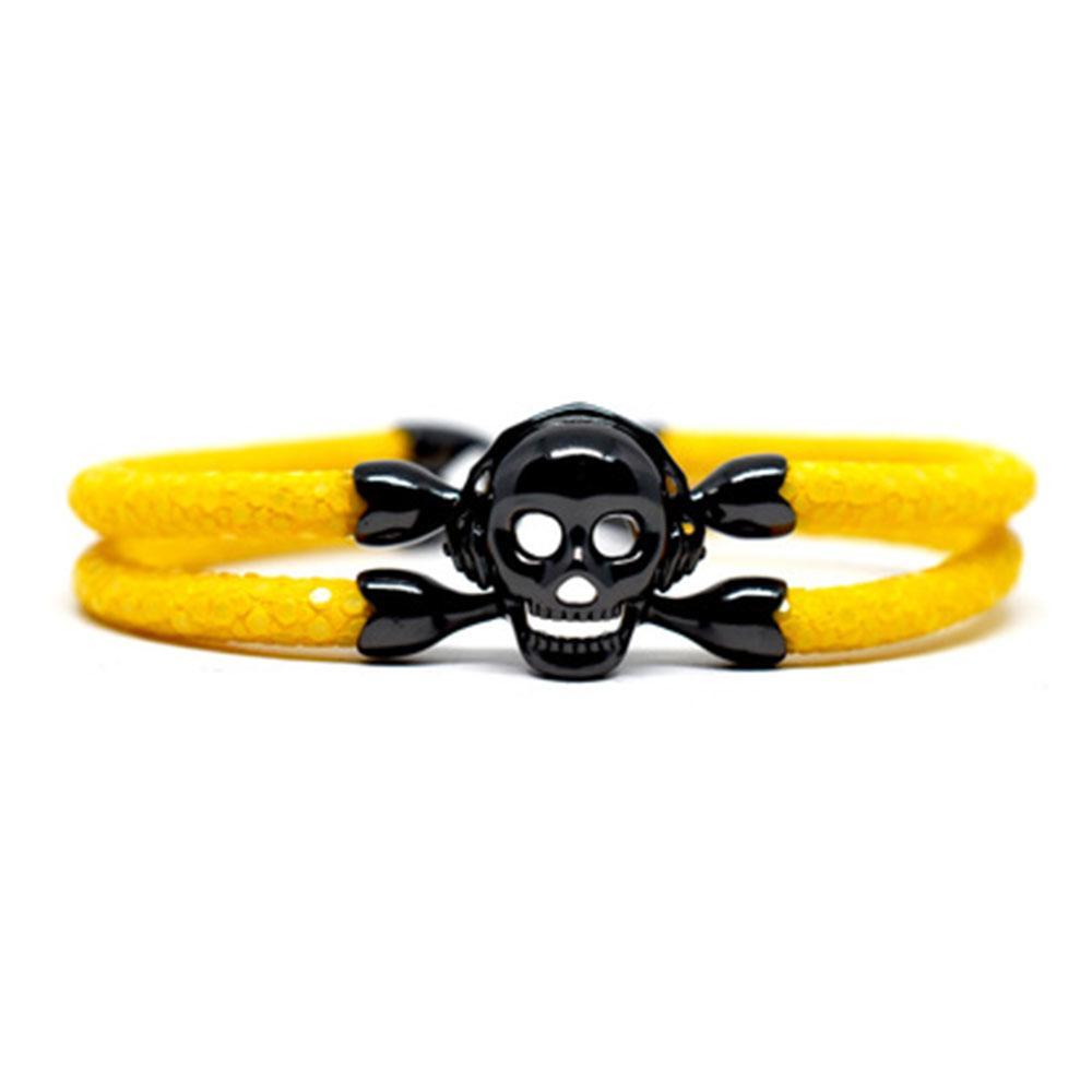 Skull Bracelet | Yellow with Black Skull | Double Bone