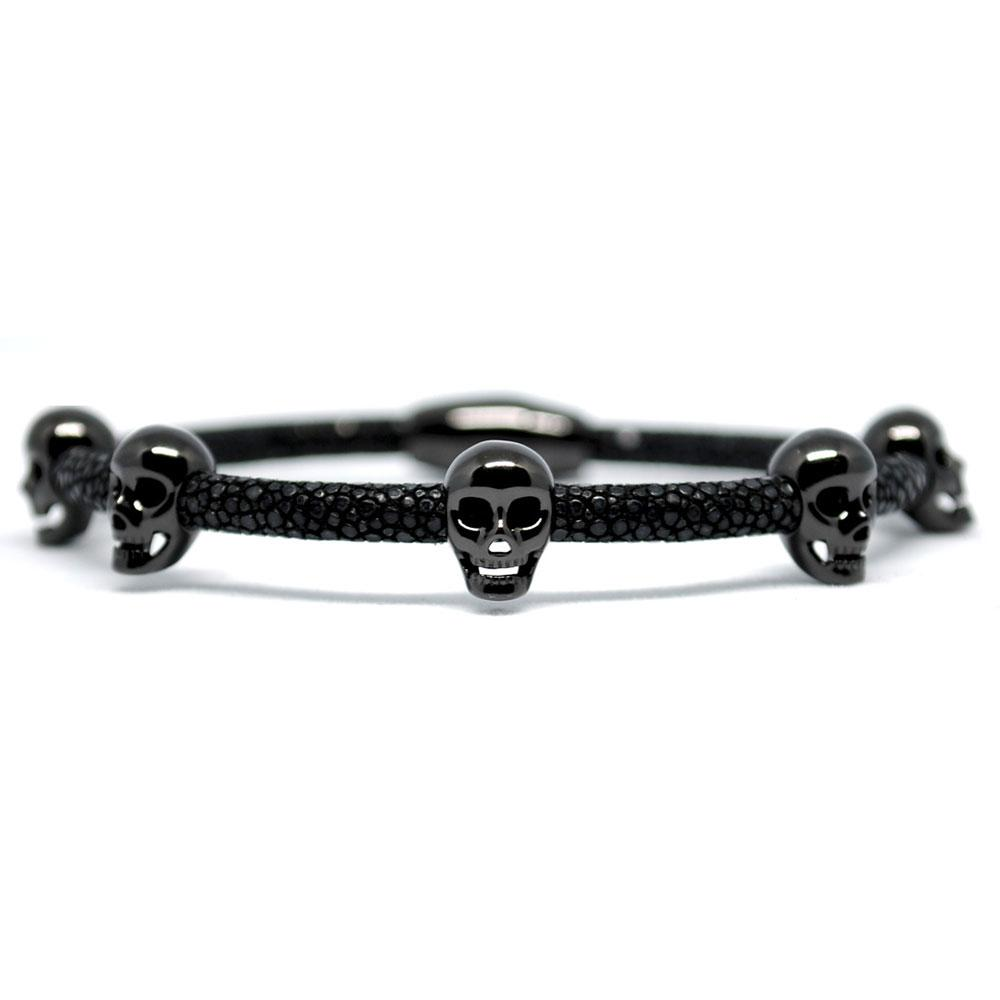 Skull Bracelet | Black with Black Skulls | Double Bone