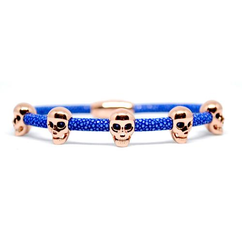 Bracelet | Multi Skull | Blue/Rose Gold
